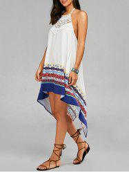 Backless High Low Halter Handkerchief Dress - WHITE
