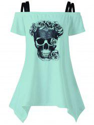 Off The Shoulder Skull Asymmetrical T-Shirt -