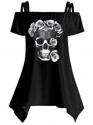 Off The Shoulder Skull Asymmetrical T-Shirt - BLACK