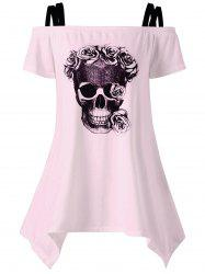 Off The Shoulder Skull Asymmetrical T-Shirt