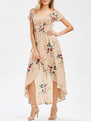 Crinkly Floral High Low Dress - APRICOT