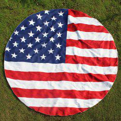 Round US Flag Element Printed Beach Throw