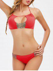 Cut Out String Halter Bikini Set
