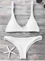 Padded Scoop Neck Bikini Set - WHITE