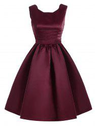 Sweetheart Neck Vintage Fit and Flare Dress - WINE RED 2XL