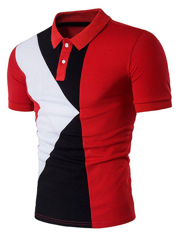 Red Xl Color Block Panel Design Polo T Shirt Rosegal Com