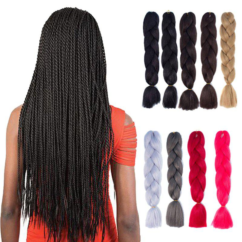 Synthetic Kanekalon Braiding Hair ExtensionHAIR<br><br>Color: BLACK; Hair Extension Type: Hair Weft; Style: Braid Hair; Fabric: Synthetic Hair; Length: Long; Weight: 0.1200kg; Package Contents: 1 x Hair Extension; Length Size(Inch): 24;