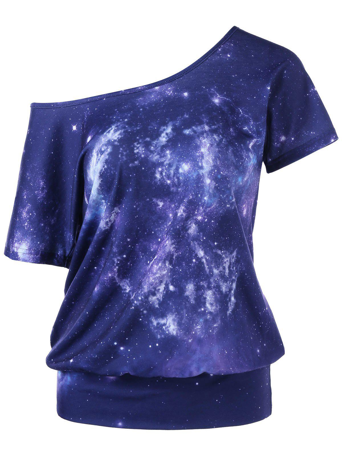 Fashion Galaxy Skew Collar T-Shirt