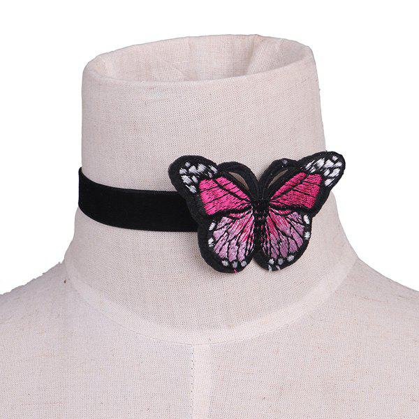 Embellished Butterfly Embroidery Velvet Choker NecklaceJEWELRY<br><br>Color: BLACK; Item Type: Chokers Necklace; Gender: For Women; Style: Trendy; Shape/Pattern: Insect; Length: 35CM; Weight: 0.0300kg; Package Contents: 1 x Necklace;
