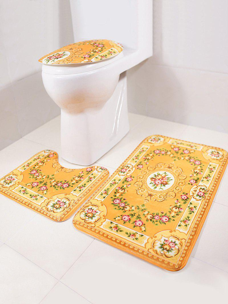Cheap 3Pcs Europe Bath Floor Rug and Toilet Lid Mat Set