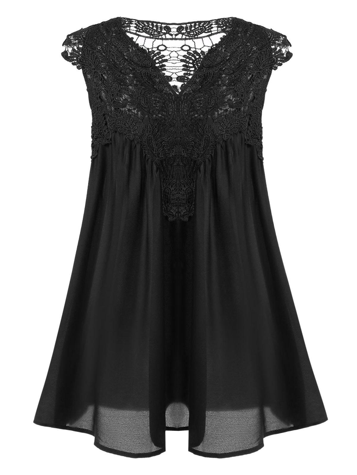 Womens Stylish V-Neck Sleeveless Lace Splicing BlouseWOMEN<br><br>Size: XL; Color: BLACK; Material: Polyester; Shirt Length: Regular; Sleeve Length: Sleeveless; Collar: V-Neck; Style: Casual; Season: Summer; Pattern Type: Patchwork; Weight: 0.2350kg; Package Contents: 1 x Blouse;