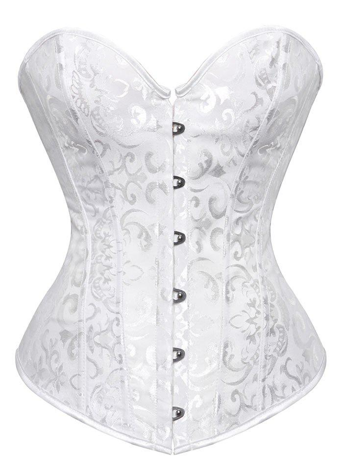 fcaaa1cd7a Trendy Lace Up Jacquard Steel Boned Corset