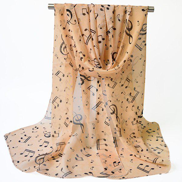 Unique Lightsome Tiny Musical Notes Printing Chiffon Scarf