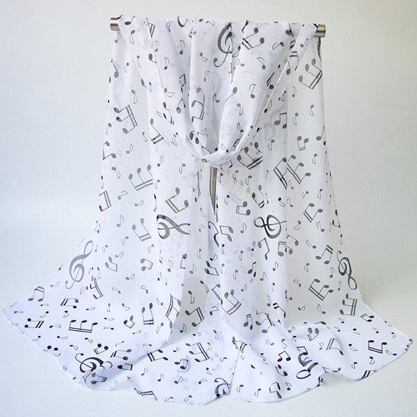 Lightsome Tiny Musical Notes Printing Chiffon ScarfACCESSORIES<br><br>Color: WHITE; Scarf Type: Scarf; Group: Adult; Gender: For Women; Style: Fashion; Material: Polyester; Pattern Type: Print; Season: Fall,Spring,Summer,Winter; Scarf Length: 155CM; Scarf Width (CM): 50CM; Weight: 0.0400kg; Package Contents: 1 x Scarf;