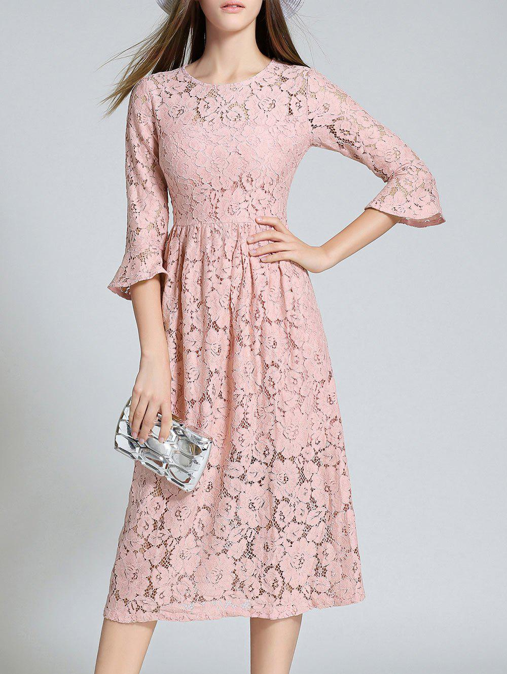 fc0cc497f395 Outfits Round Neck Flare Sleeve Lace Dress