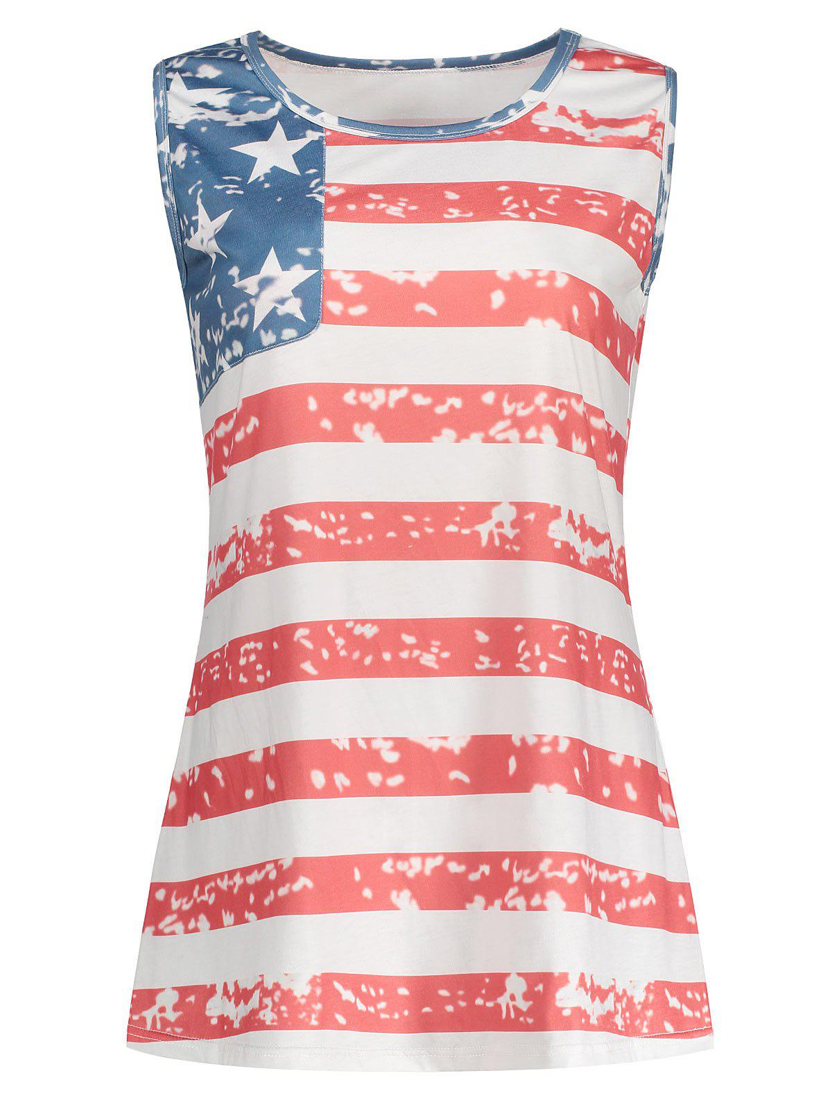 Sale Round Collar American Flag Print Tank Top