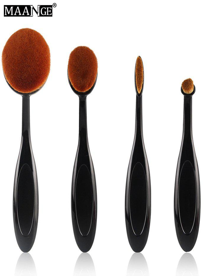 MAANGE 4 Pcs Nylon Oval Makeup Brushes SetBEAUTY<br><br>Color: BLACK; Category: Makeup Brushes Set; Brush Hair Material: Nylon; Length: 16cm; Weight: 0.0700kg; Package Contents: 4 x Brushes (Pcs);