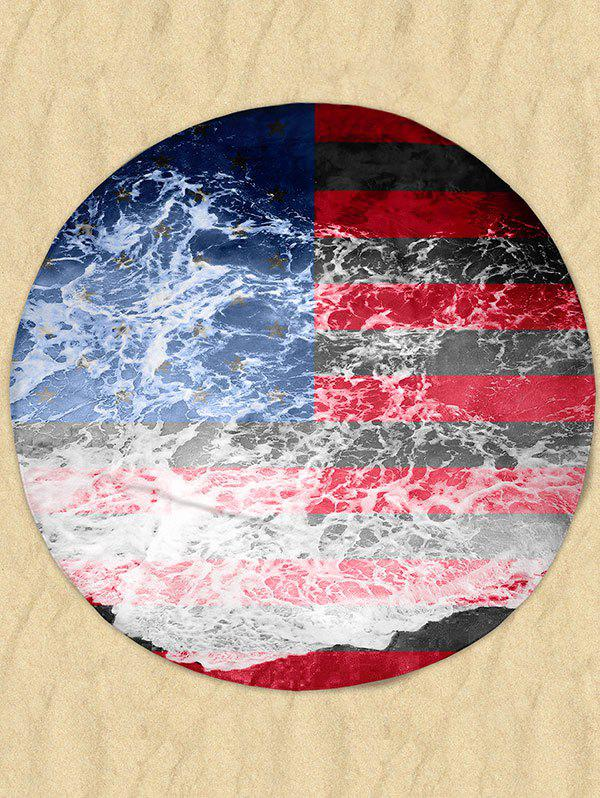 Shop Patriotic Flag Sea Tide Print Milk Silk Fabric Round Beach Throw