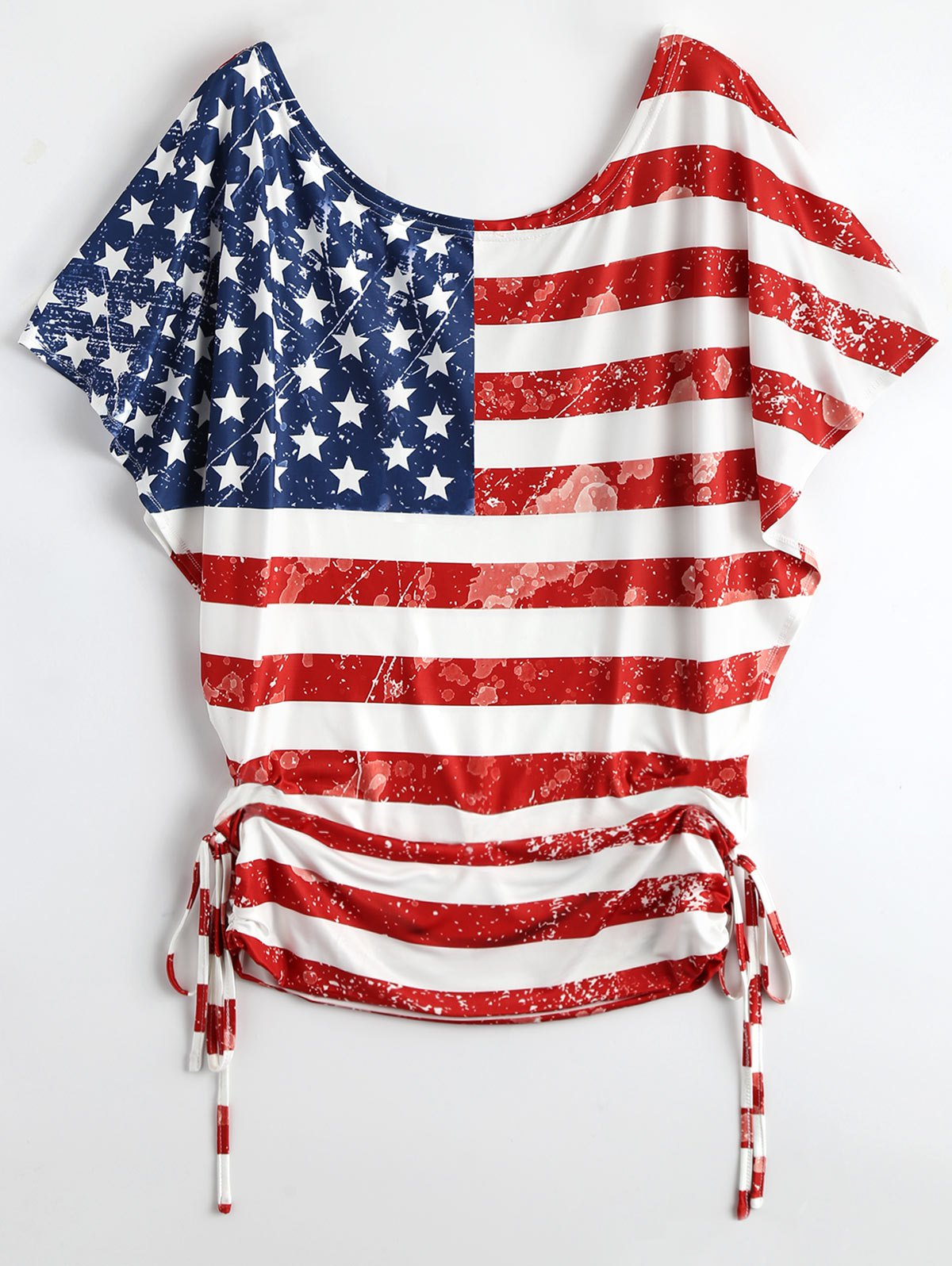 Buy Distressed Lace Up Batwing American Flag Patriotic T-Shirt