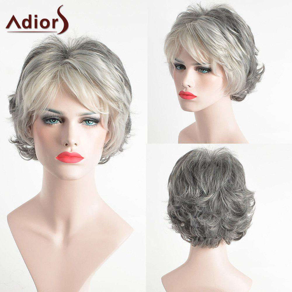 Adiors Pixie Side Bang Slightly Curled Short Colormix Synthetic HairHAIR<br><br>Color: COLORMIX; Type: Full Wigs; Cap Construction: Capless; Style: Straight; Material: Synthetic Hair; Bang Type: Side; Length: Short; Length Size(CM): 27; Weight: 0.1260kg; Package Contents: 1 x Wig;