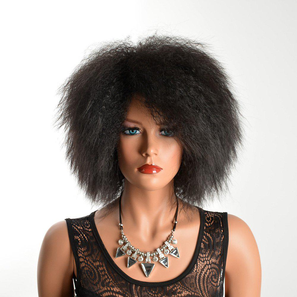 Adiors Fluffy Medium African Curly Synthetic HairHAIR<br><br>Color: BLACK; Type: Full Wigs; Cap Construction: Capless; Style: Curly; Material: Synthetic Hair; Bang Type: Side; Length: Medium; Length Size(CM): 36; Weight: 0.1340kg; Package Contents: 1 x Wig;