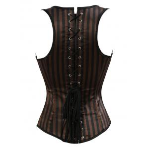 Belted Embellished Stripe Cupless Corset Top - BROWN S
