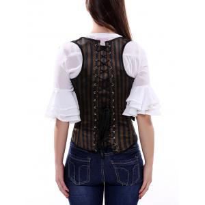 Belted Embellished Stripe Cupless Corset Top -