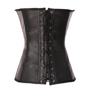 Halter Lace-Up Faux Leather Steampunk Corset - BROWN S