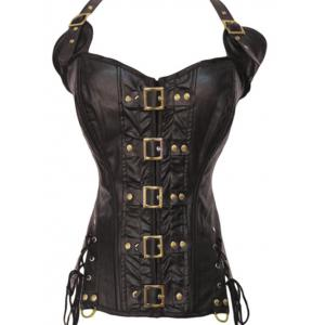 Halter Lace-Up Faux Leather Steampunk Corset