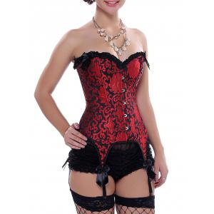 Ruffle Lace-Up Garter Corset