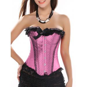 Ruffle Trim Lace-Up Corset Top - Light Pink - L