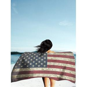 Retro Mosaic Patriotic American Flag Print Beach Throw