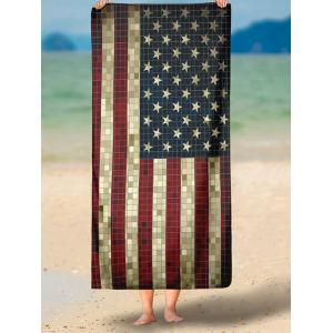 Rétro Mosaïque American Flag Print Beach Throw - Bleu M