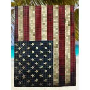 Retro Mosaic Patriotic American Flag Print Beach Throw -