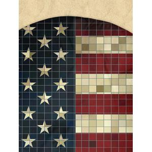 Mosaic Patriotic American Flag Round Milk Silk Fabric Beach Throw -