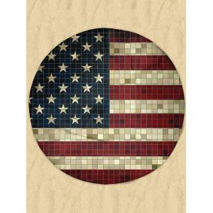 Mosaic Patriotic American Flag Round Milk Silk Fabric Beach Throw - Multicolor - 2xl