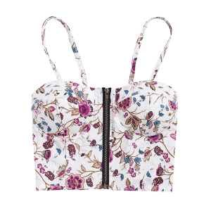 Floral Zip Front Padded Cami Cropped Tank Top -