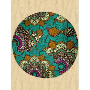 Milk Silk Fabric Round Beach Throw with Mandala Print -