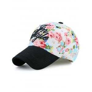 Letters Embroidery Floral Printing Baseball Hat - Black - One Size