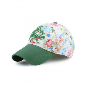 Letters Embroidery Floral Printing Baseball Hat - Green