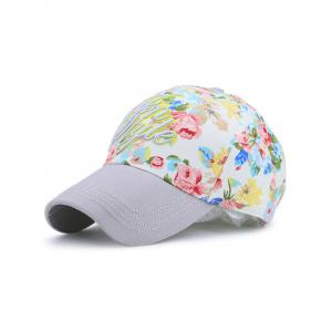 Letters Embroidery Floral Printing Baseball Hat - Gray - One Size