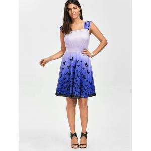 Square Neck Butterfly Print Short Skater Dress - GRADUAL PURPLE XL