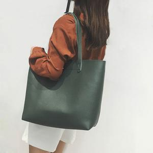 2 Pc PU Leather Shoulder Bag Set - GREEN