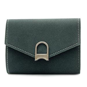 Suede Tri Fold Small Wallet - Deep Green - 41