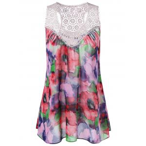 Floral Sleeveless Lace Crochet Chiffon Flowy Blouse