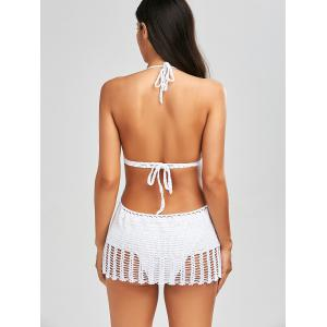 Backless Halter Crochet Padded Swimwear - WHITE S
