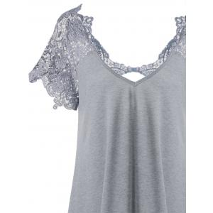 Lace Trim Cutwork T-Shirt Mini Dress - GRAY 2XL