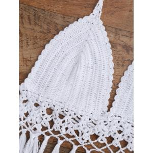 Scalloped Crochet Tassel Halter Bikini - WHITE S
