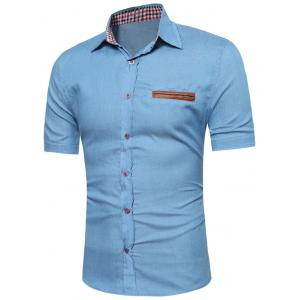 PU Leather Insert Short Sleeve Chambray Shirt - Light Blue - S