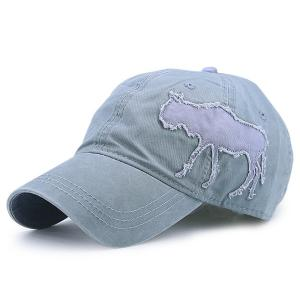 Gnu Design Patchwork Denim Baseball Cap - Sage Green - One Size